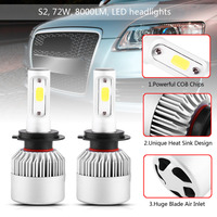 2Pcs S2 72W 8000lm Car LED Headlight COB Headlamp Bulbs White 6500K H7