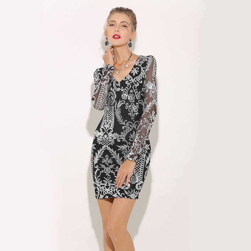 ... Parthea Fashion Women Sequin Dress Floral Bodycon Club Party Dresses  Winter Sexy Long Sleeve V Neck ... fcc9938ee1b6