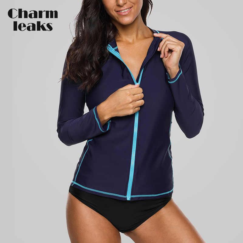Charmleaks Wanita Lengan Panjang Zipper K Berlaku Baju Renang Warna Solid Baju Renang Surfing Top Menjalankan Bersepeda Kemeja Ruam Penjaga UPF50 +