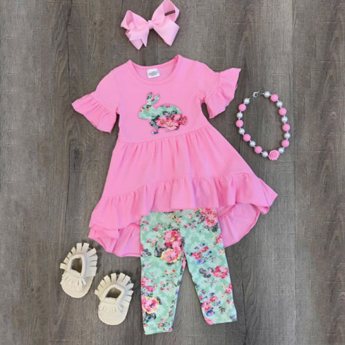 2018 New Kids Easter 3Pcs Sweet Baby Girl Outfit Easter Pink Dress Ruffles T-shirt Pants Children Summer Clothes Set