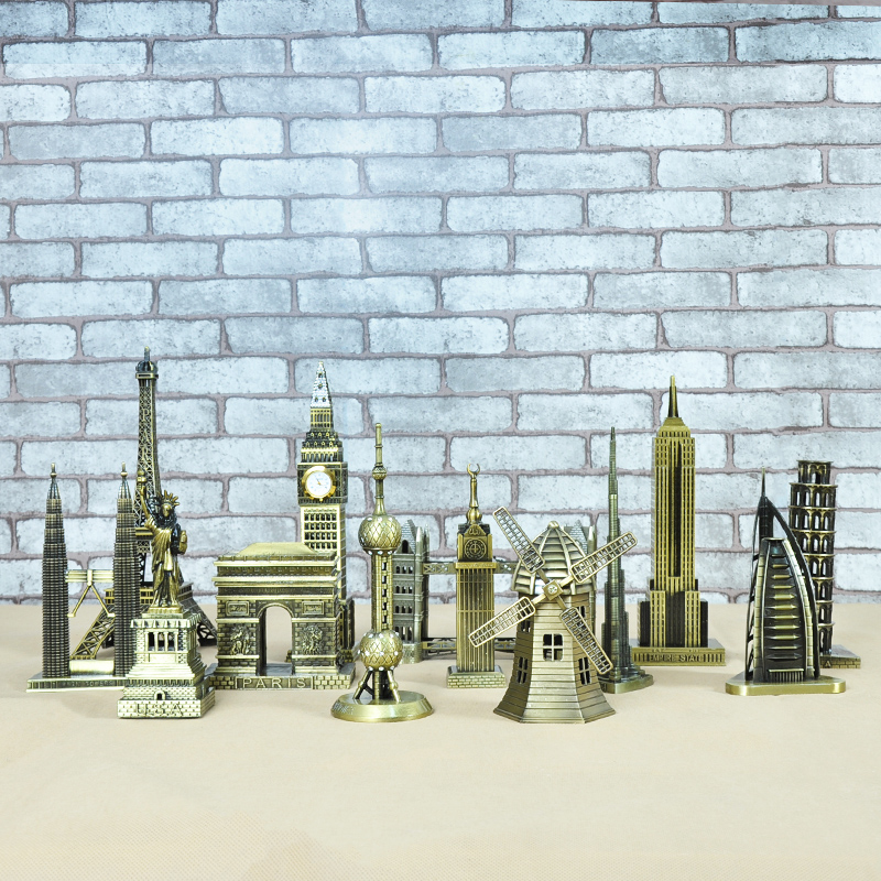 Metal 3D World Famous Architectural Bronze Crafts Model Building home decor Eiffel Tower/Statue of Liberty/Empire State Building