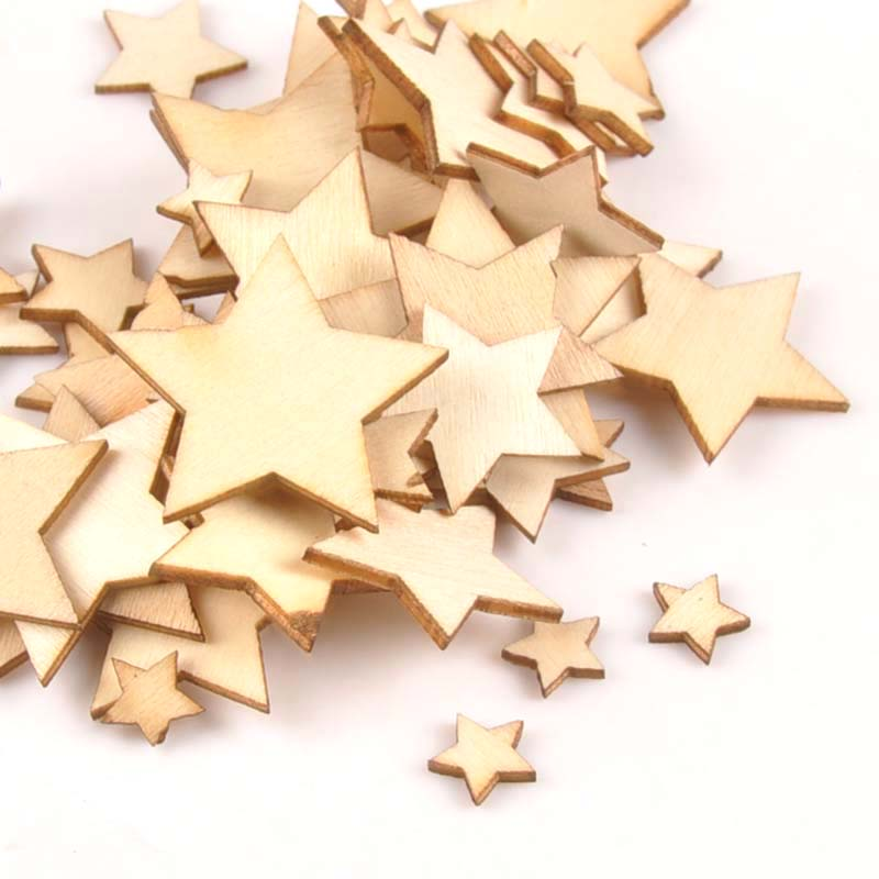 50pcs 10/15/20/25/30mm Mix Stars Wood DIY Carft For Handmade Scrapbooking Accessories Wooden Ornaments Home Decoration M0589