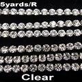 De alta densidad SS6 2mm SS8 2,5mm SS10 2,8mm SS12 3mm SS16 4mm cristal de diamantes de imitación de plata de cadena de copa de coser en pegamento en trim