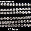 High density SS6 2mm SS8 2.5mm SS10 2.8mm SS12 3mm SS16 4mm crystal clear rhinestone chain Silver cup claw Sew On glue on trim