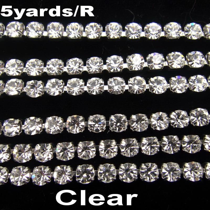 Высокая плотность SS6 2 мм SS8 2,5 мм SS10 2,8 мм SS12 3 мм SS16 4 мм кристально прозрачные стразы цепи Серебряный Кубок пришить клей на отделкой