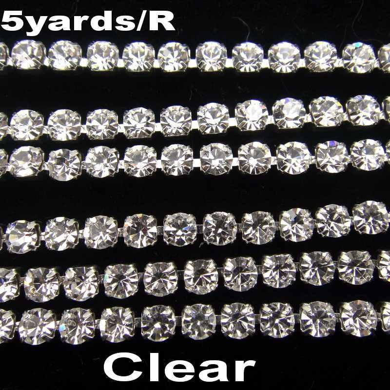高密度 SS6 2 ミリメートル SS8 2.5 ミリメートル SS10 2.8 ミリメートル SS12 3 ミリメートル SS16 4 ミリメートルクリスタルクリアラインストーンチェーンシルバーカップ爪縫うにトリム
