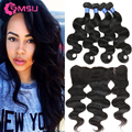 Fabwigs Hair Lace Frontal With 4 Bundles Peruvian Virgin Hair Body Wave Frontal Closure 13X4 Nape Closure Baby Hair Amazing Hair