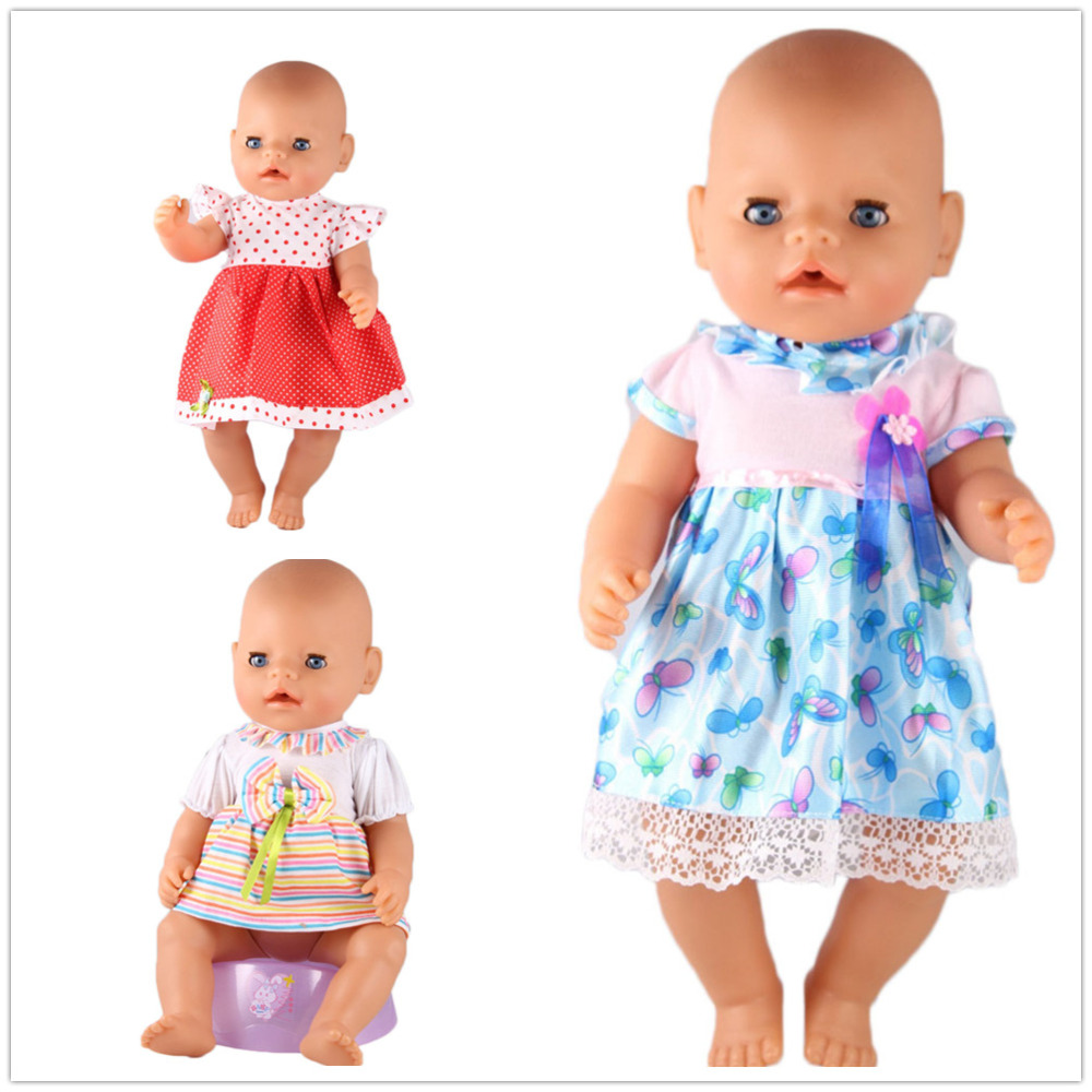 3color choose high quality dress Wear fit 43cm Baby Born zapf,Children best Birthday Gift(only sell clothes) 4color choose set clothes hairbrand wear fit 43cm baby born zapf children best birthday gift only sell package