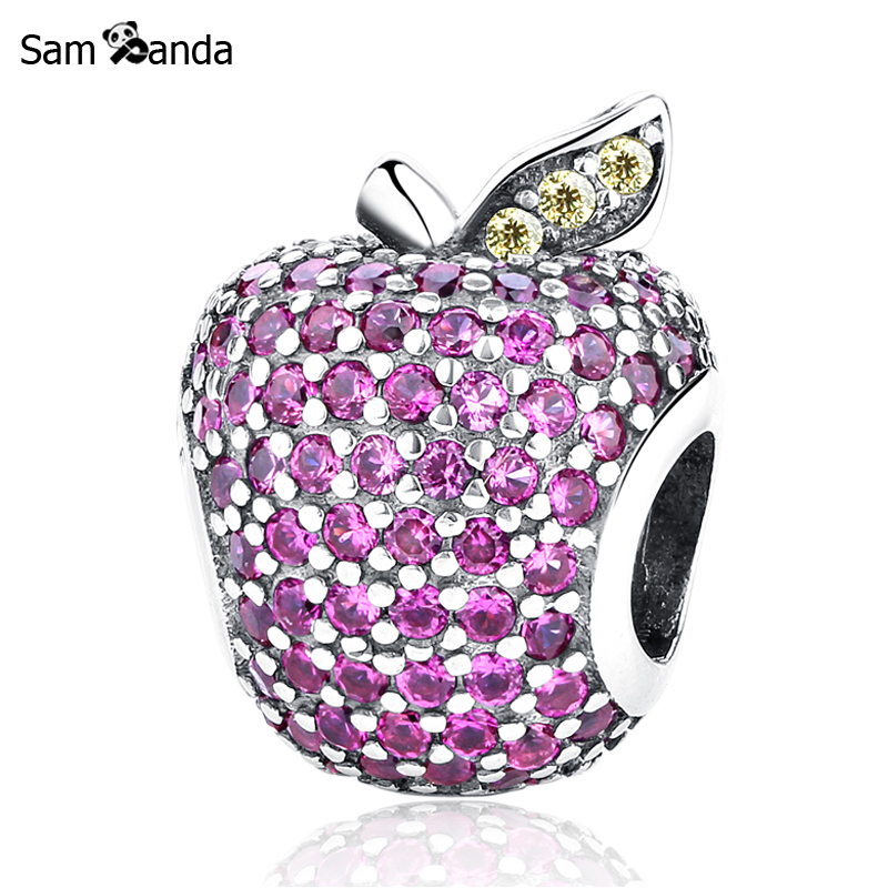 Authentic 925 Sterling Silver Charm Bead Pave Apple Charms Rose Red Crystals Fit Pandora Bracelets Women Diy Jewelry Making