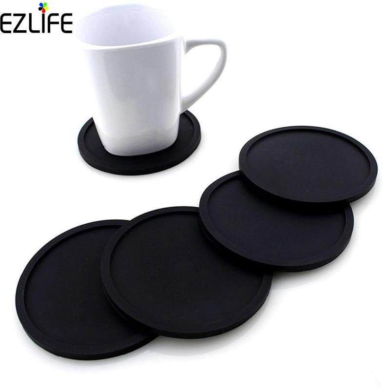 Us 1 18 20 Off Pcs Silicone Drink Mats Pads Coaster Placemats For Table Dinner Placemat Black Cup Set Lpt3070 In