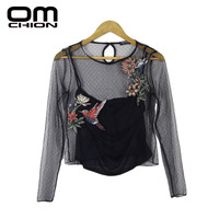 OMCHION New Fashion 2017 Spring Summer Mesh Elastic Lace Shirts Women Embroidery Slim Tops Brand Style