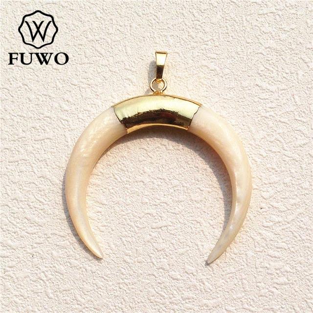 FUWO Size Lớn Thời Trang Trắng Tự Nhiên Vỏ Lưỡi Liềm Mặt Dây Chuyền 24K Mạ Điện Tối Giản Ven Biển Trang Sức Bán Buôn PD529