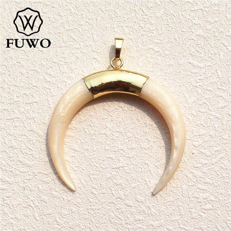 Costeira de Jóias por Atacado Fuwo Tamanho Grande Moda Shell Natural Branco Crescente Pingente 24 k Ouro Galvanizados Minimalista Pd529