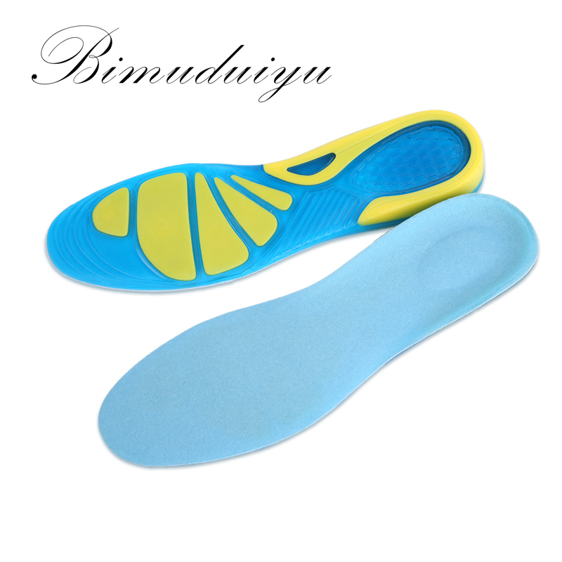 BIMUDUIYU Sports Insoles Women Men Shoes Pad Silicone Damping Soft Insoles Breathable Absorb Sweat Mountaineer Shoe Inserts ultra soft memory foam pu sports insoles women or men shoes pad gel orthopedic thickened flatfoot absorb sweat military insoles