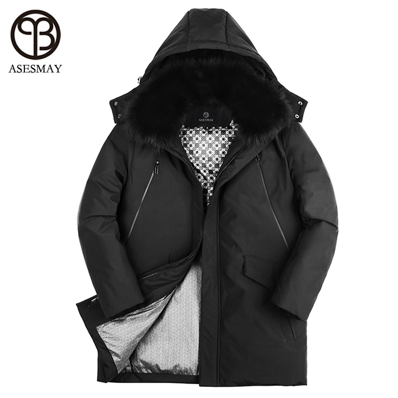 Asesmay 2017 men down jacket high quality snow parkas goose feather mens winter jackets for russia natural fur hooded down coat