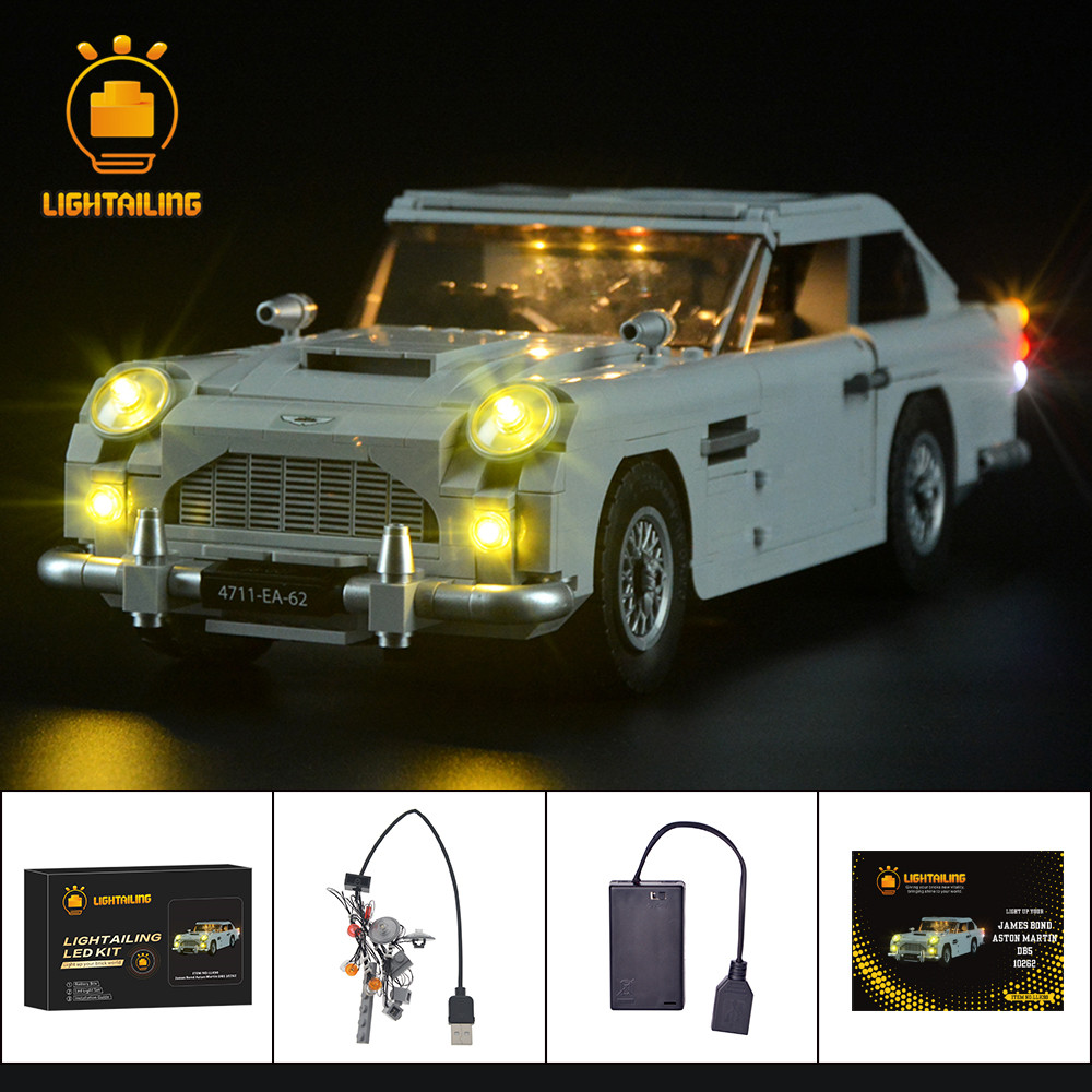 LIGHTAILING LED Light Kit For Creator James Bond Aston Martin DB5 Light Set Compatible With 10262