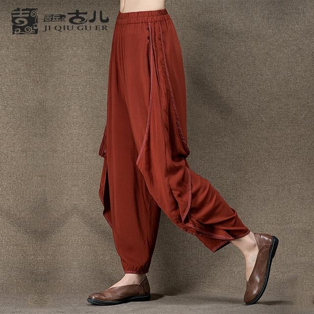 Jiqiuguer Original Design Elastic Waist Harem Pants Women Vintage Bloomers Loose Female long harem pants design G142K001