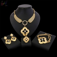 YULAILI Free Shipping Hot African Female Costume Jewelry Set with Zircon for Women Gold color 4 pcs Set