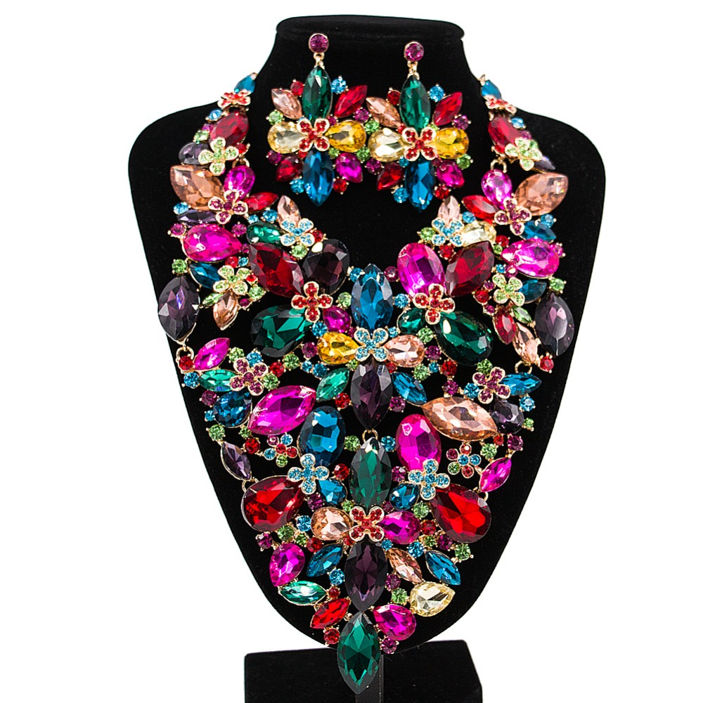 Lan palace boutiquei big jewelry sets for party wedding enamel jewelry Austrian crystal necklace and earrings free shipping