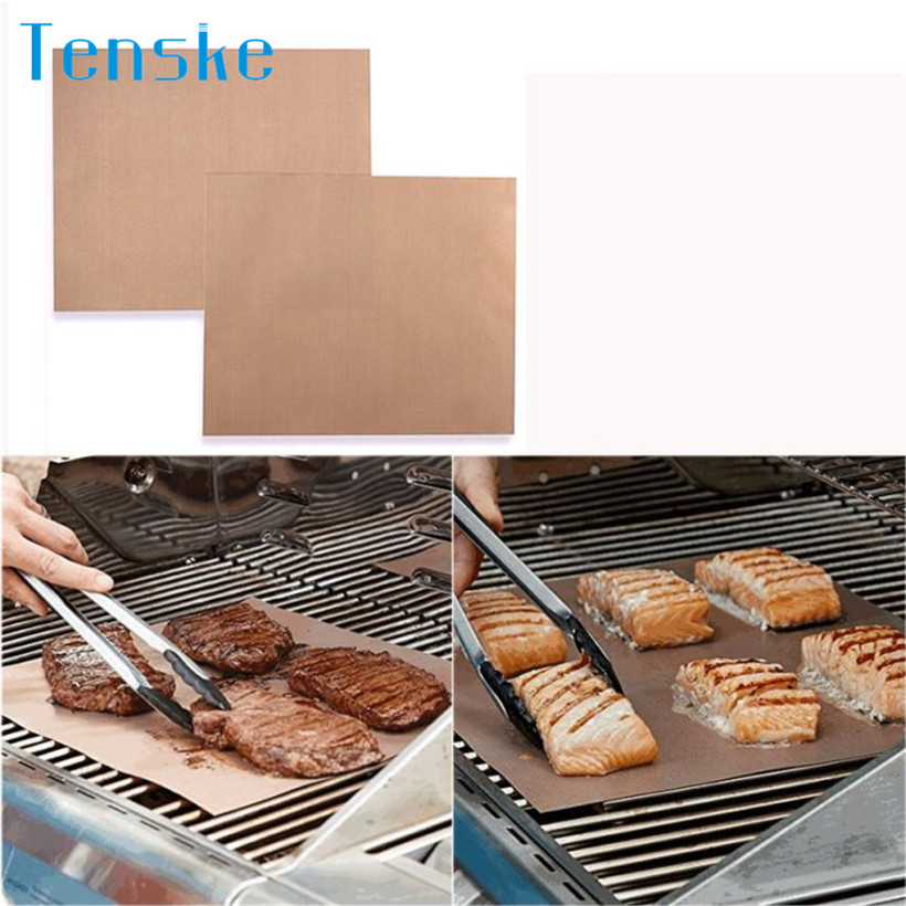 2Pcs Fiber Non-stick BBQ Mat Kitchen tools Grill and Bake Mats Barbecue Baking Liners Reusable Cooking Sheets Cooking Tool 19