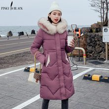 PinkyIsBlack 2019 Large Fur Pocket Jacket Winter Women New Fashion Hooded Down Cotton Padded Jacket Coat Female Thick Long Parka цены онлайн