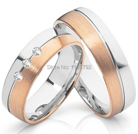 High End Custom Size Designer 18k Rose Gold Plated Titanium Wedding Bands Promise Couple Rings
