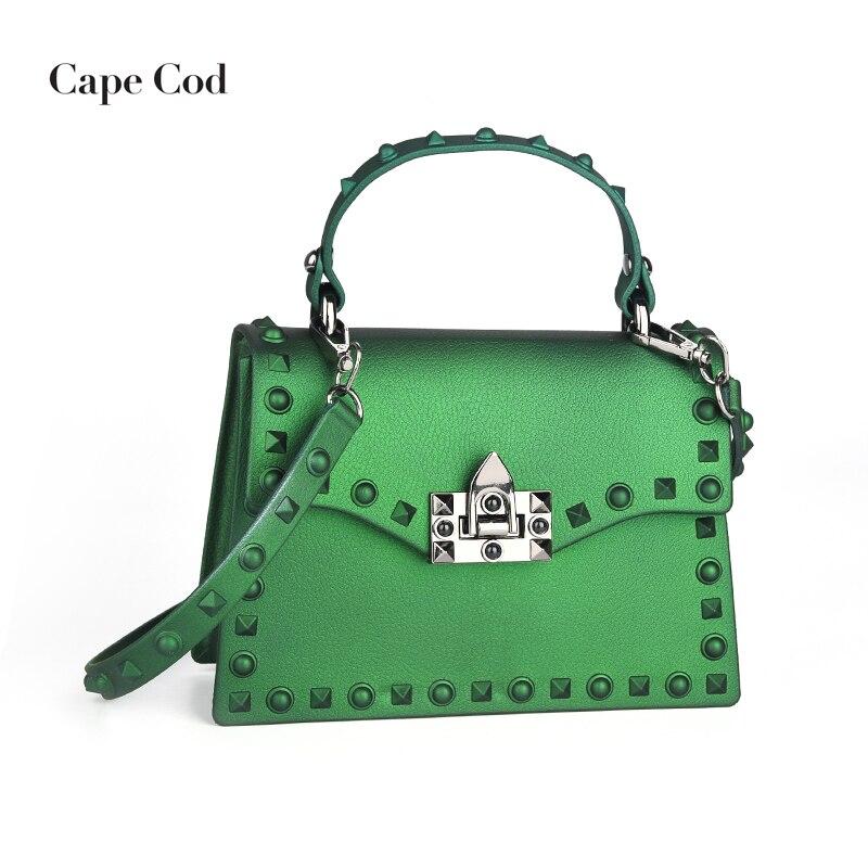 Fashion Women Mini Messenger Bags Luxury Brand Leather Handbags PVC Bags  Jelly Designer Rivets Crossbody Bag Flap Green Red PJ 0f2994fcd09a2