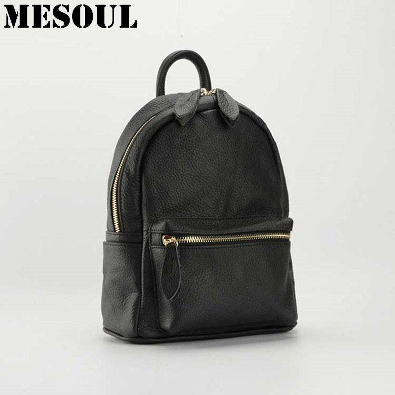 ФОТО Black Small Women Backpack Genuine Leather School Bags For Girls Fashion Travel Backpack Rucksack mochila sac a dos Back Pack