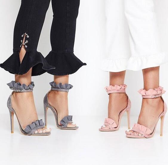 ФОТО woman sexy high heel sandal ruffles ankle strap open toe sandal 2017 summer super high gladiator sandal