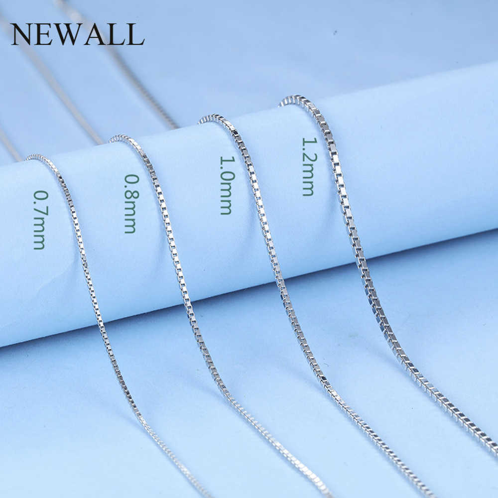 Newall 1.2mm 1.5mm Stainless Steel Silver Box Chain Necklace 47CM+4cm extend chain Customizes Men Women's Jewelry wholesale
