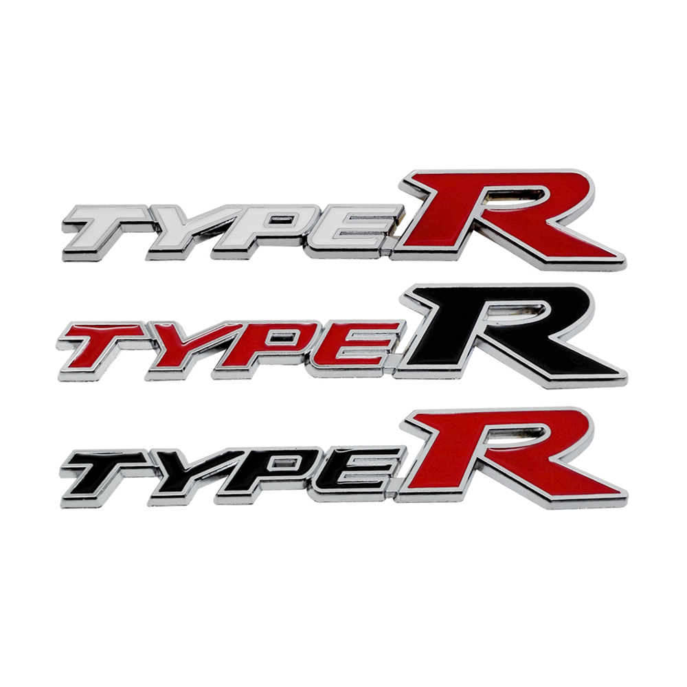 Metal badge logo type racing logo type r stickers decals for honda civic type r odyssey crosstour jazz fit elysion insight jade