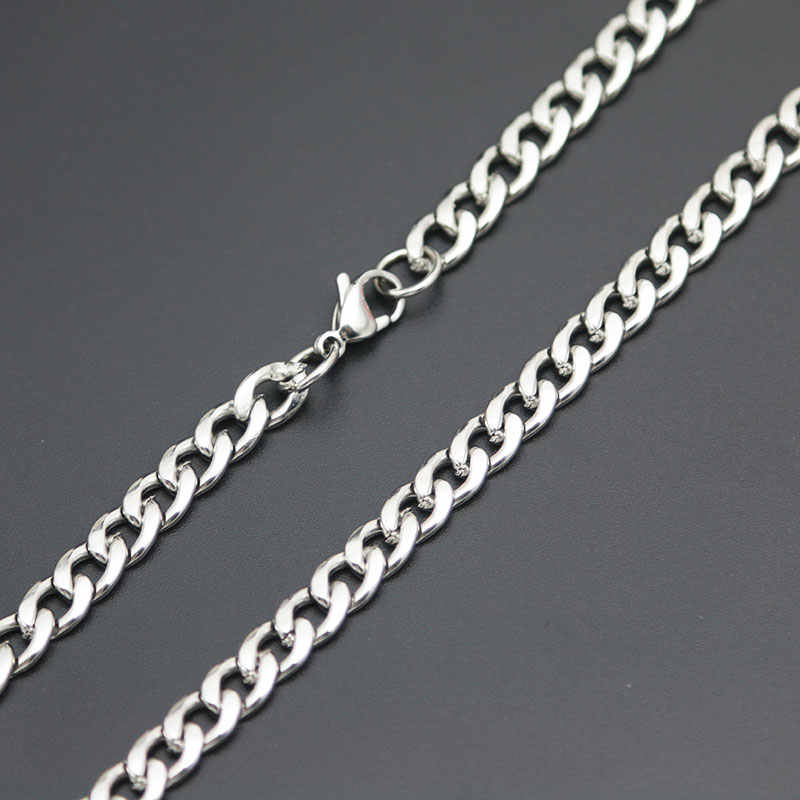 Men's Chain Titanium Stainlee Steel Silver 8.6-36inch Figaro Flat O Link Chain,3-7MM Wide Big Necklaces women Wholesale