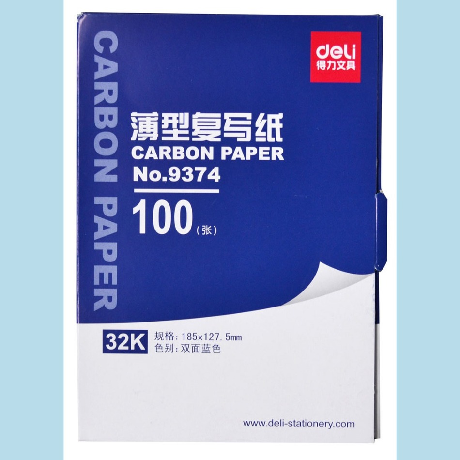 1 bag 100sheets blue color carbon paper include 3 red ones 32k 127.5x185mm good quality for accounting Deli 9372