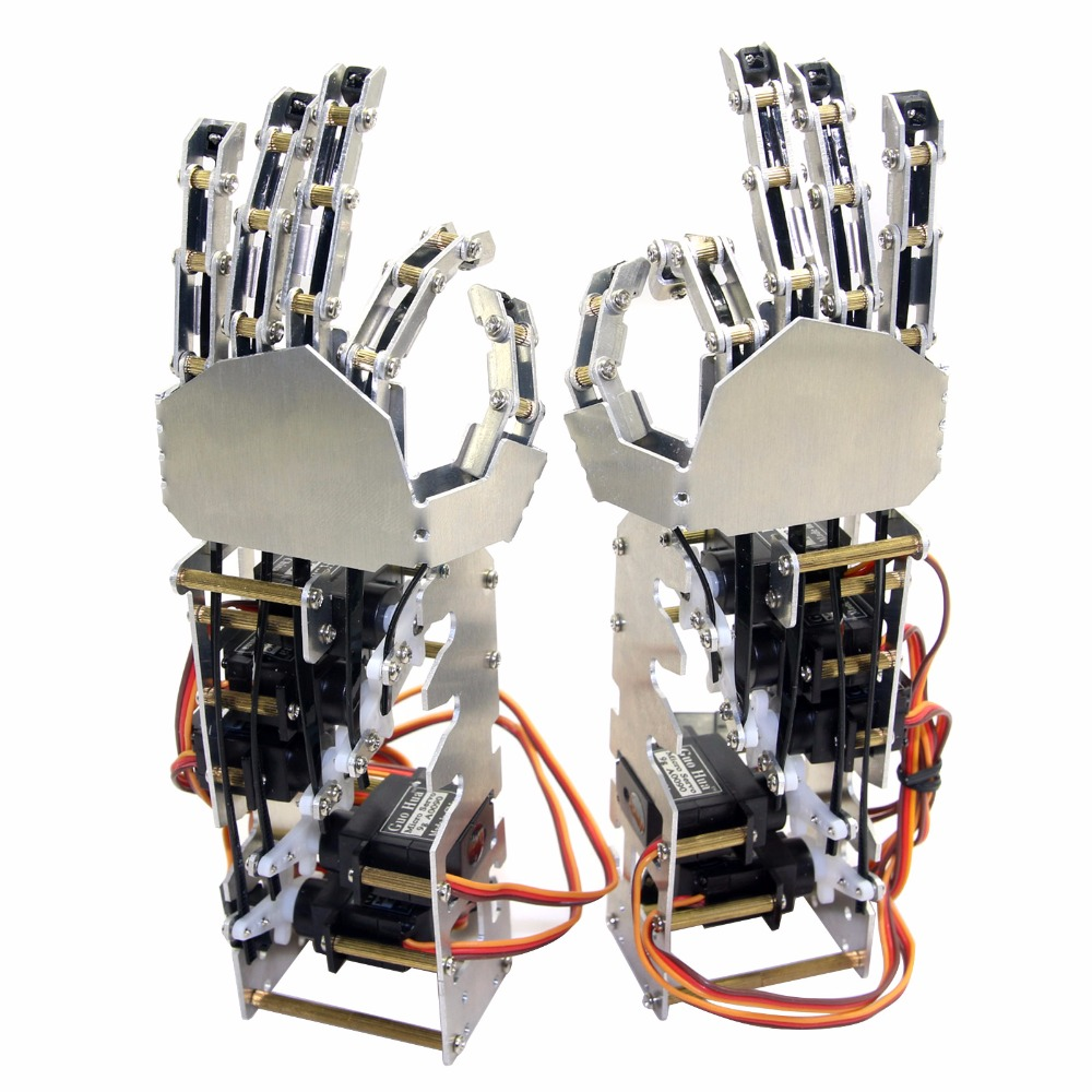 5DOF Humanoid Five Fingers Metal Manipulator Arm Left Right Hand with GS9018 Servos for Robot DIY 5dof robot humanoid metal manipulator five fingers anthropomorphic left right hand with servo