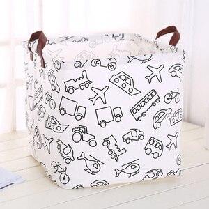 Image 4 - Foldable organizer Storage Basket Folding For Cotton Linen Art Nordic Wind Large Toy Storage Box Barrel organizador
