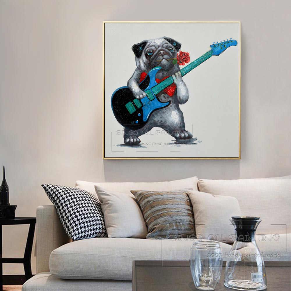 Ohne Gerahmte Hand bemalt Schöne Hund Spielen Gitarre Ölgemälde auf Leinwand Niedlichen Hund mit Rose Blume Bild für wand Dekor