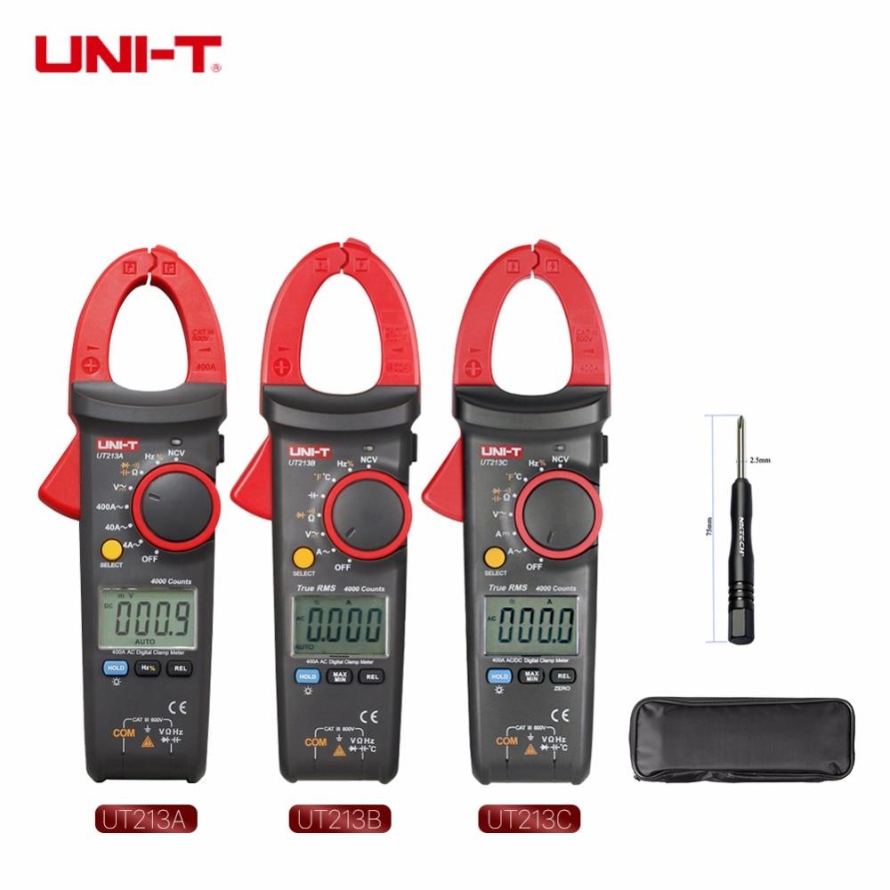 UNI-T UT213C UT213B UT213A True RMS Digital Clamp Meter Multímetro Gama Auto Temperatura AC DC Amperímetro Capacitância Res Freq NCV
