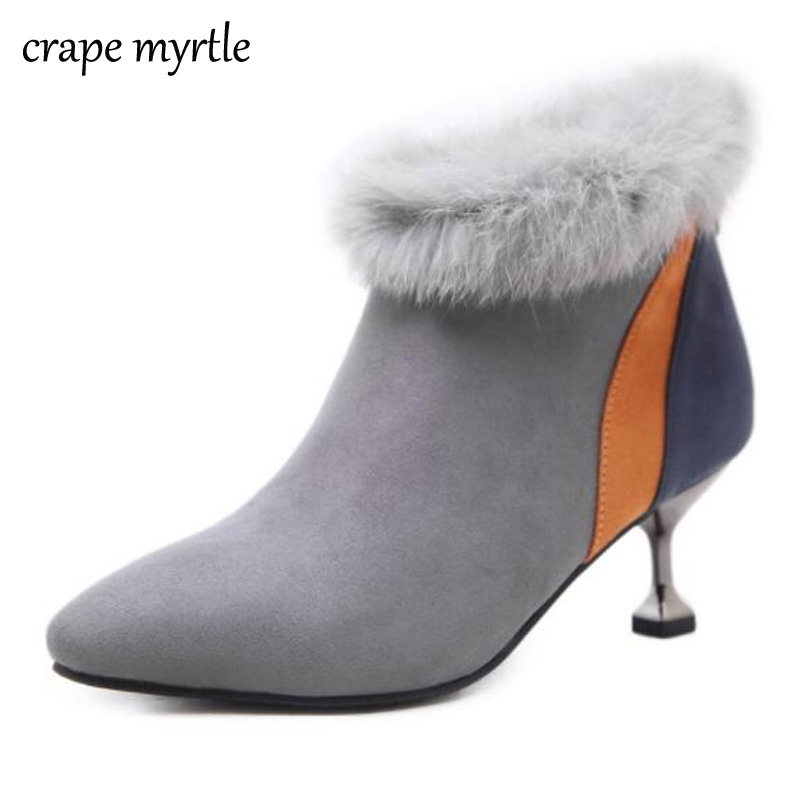 booties 2017 pointed toe ankle boots Rabbit Fur snow shoes women boots winter shoes thin heel