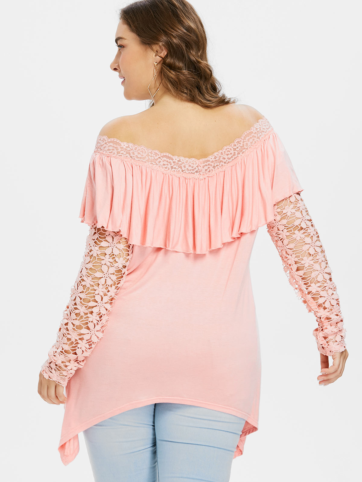 AZULINA Plus Size Lace Sleeve Ruffle Top Women T-Shirt Summer Autumn Off The Shoulder Long Sleeve T Shirt 2018 Ladies Tops 5XL