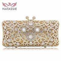 NATASSIE New Women Crystal Bag Ladies White Diamond Gold Wedding Evening Clutches Bags Girls Party Bag