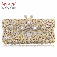 NATASSIE New Women Crystal Bag Ladies White Diamond Gold Wedding Evening Clutches Bags Girls Party Bag