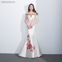 Chinese Style Colorful Appliques White Mermaid Prom Dresses Long 2017 Off The Shoulder Prom Dress Vestido