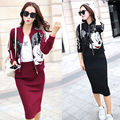 Fashion Sequined Cartoon Pattern Women Suits Spring Slim Casual Wear 2 piece set Coats and Skirts Plus Size Women Sets