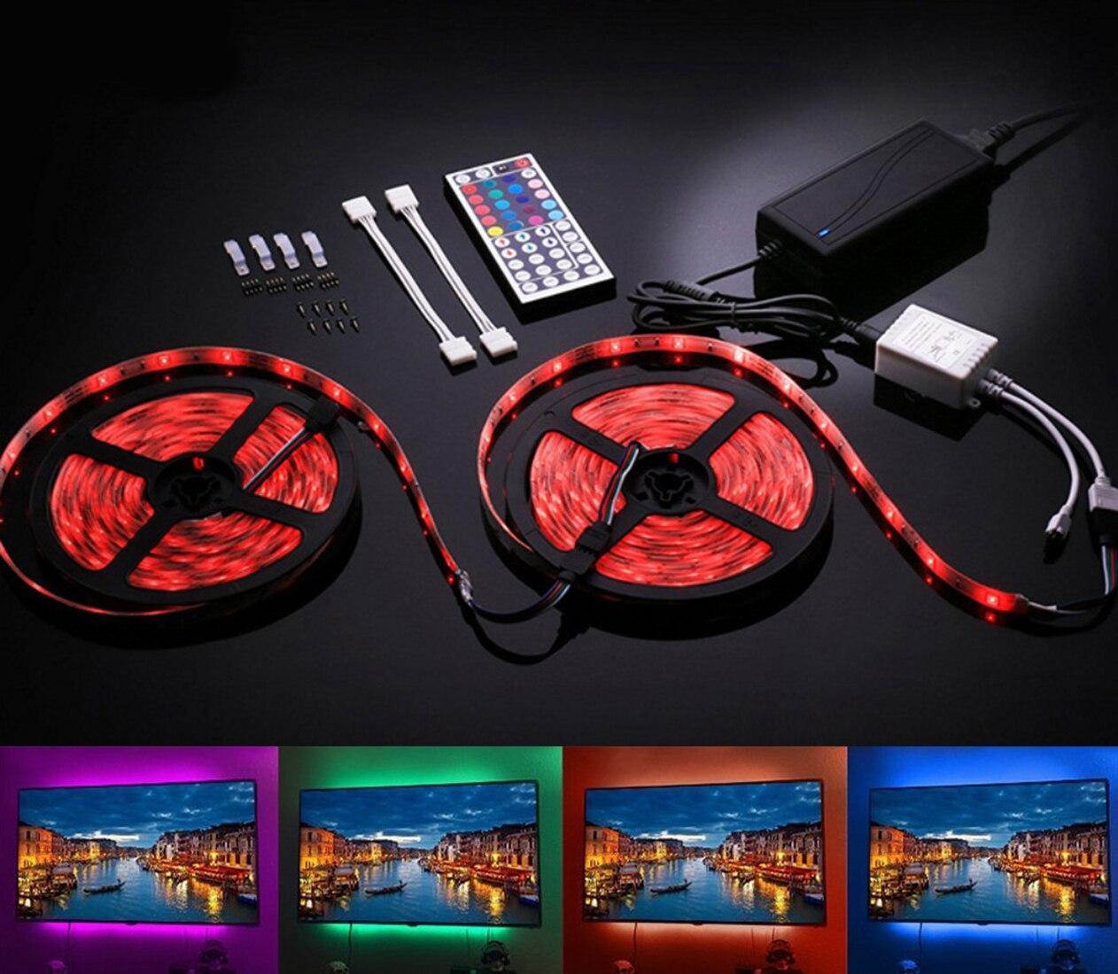 RGB LED bande étanche 10 M 300 LED DC 12 V SMD 5050 lumière LED bandes flexibles néon bande Monochrome UK/EU prise