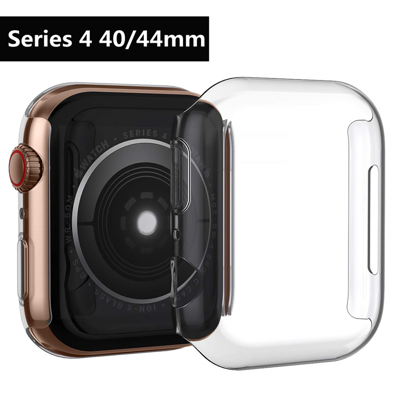 Silicone Soft Cover for Apple Watch series 4 44mm 40mm Case TPU Clear Ultra-Thin Screen Protective for iWatch All-around frame ultra thin protective silicone bumper frame for iphone 5 red black