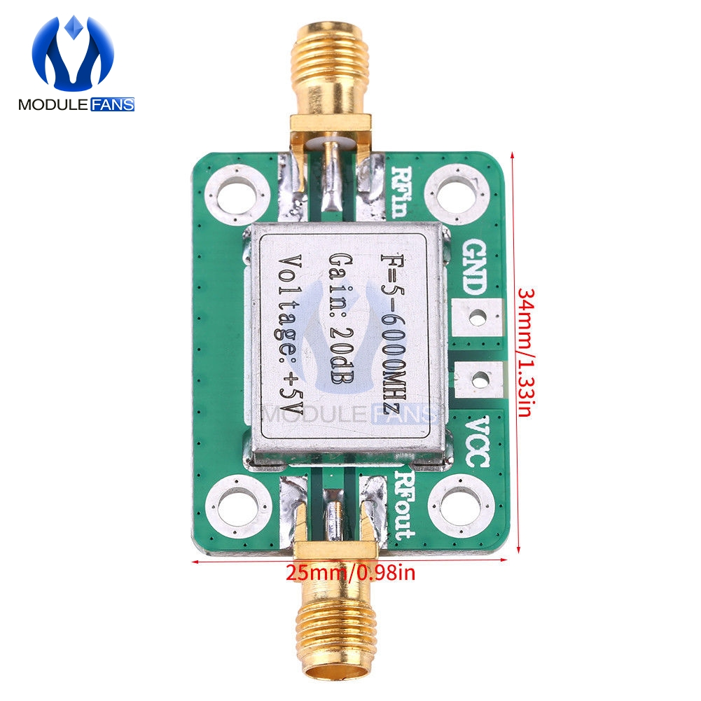 5M~6000MHz 5M~6GHz Gain 20dB RF Ultra Wideband Medium Power Amplifier Module