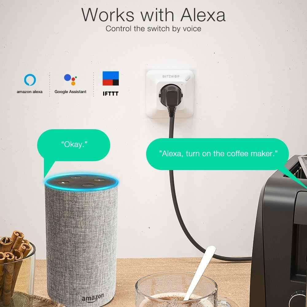 BlitzWolf BW-SHP8 3680W 16A Smart WIFI enchufe de pared temporizador Control remoto Monitor de energía trabajo con Alexa Google asistente