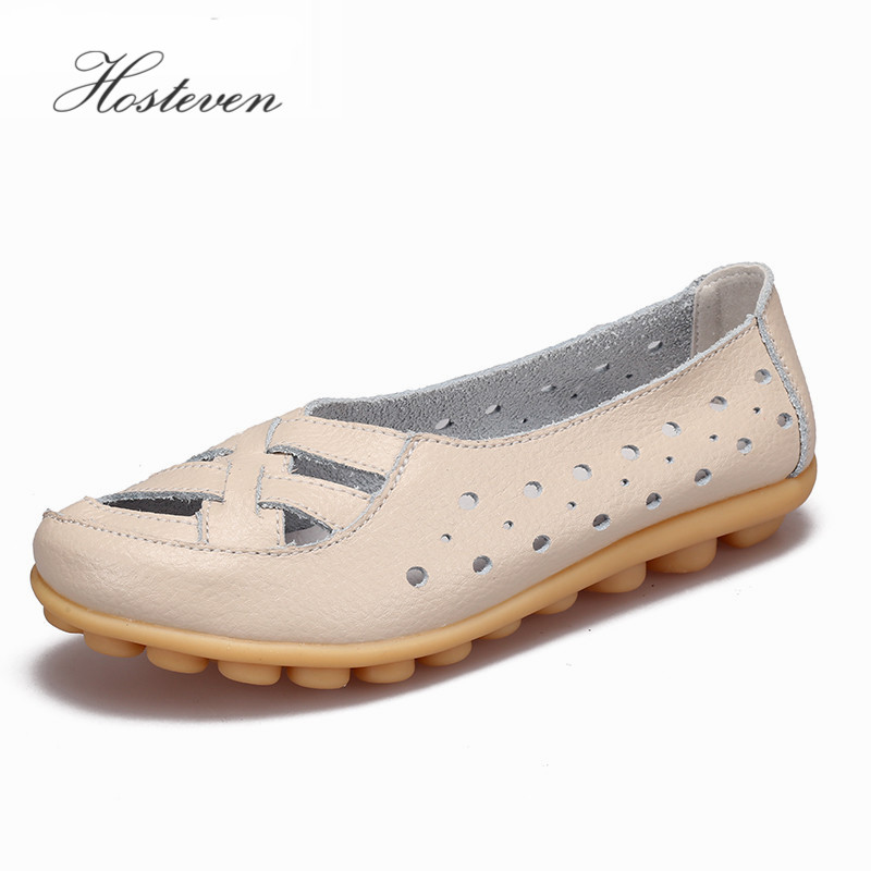 Hosteven Women's Shoes Flats Women loafers Ladies Shoes Slip on Ballet Flats Genuine Cow Leather Shoes footwear