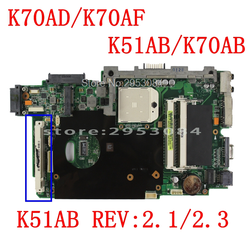 send cpu K51AB Motherboard HD5145 512M For ASUS K51AB K70AF K70AB K70AD Laptop motherboard K51AB Mainboard Motherboard 100% OK цены