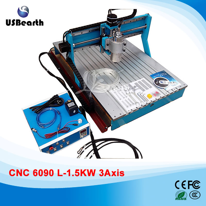 High Precision CNC 6090 L-1.5KW 3 axis CNC Router with Linear Guide Rail toothed belt drive motorized stepper motor precision guide rail manufacturer guideway